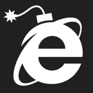 Internet Exlorer logo modified to look like old-fashioned bomb.